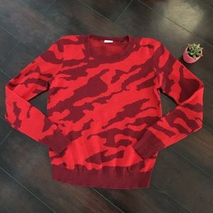 CAbi Red Camo Pull Over Sweater #3158